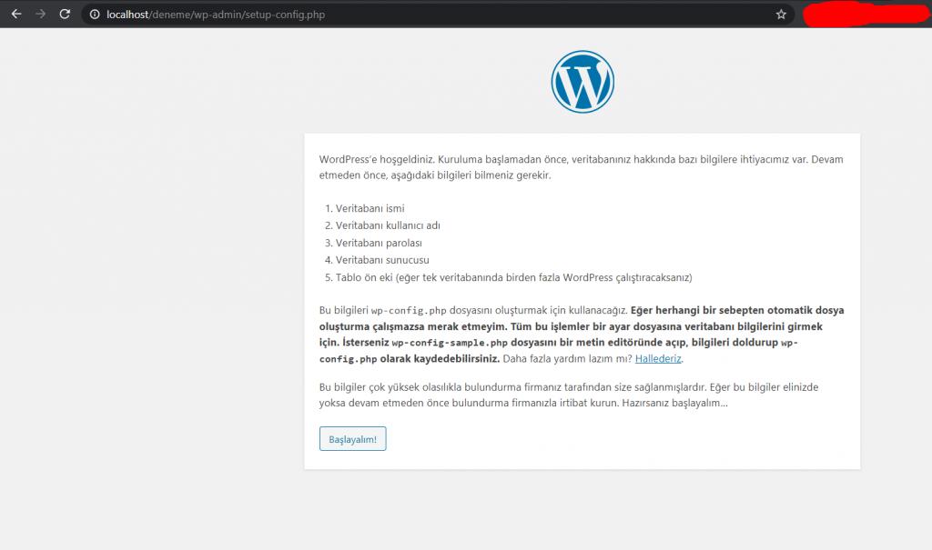 Wordpress Kurulum penceresi