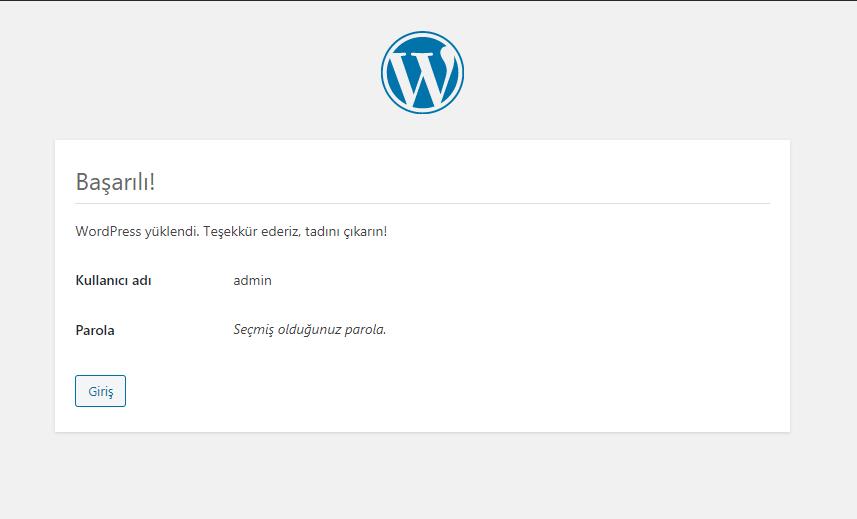 wordpress basarılı bir şekilde kuruldu