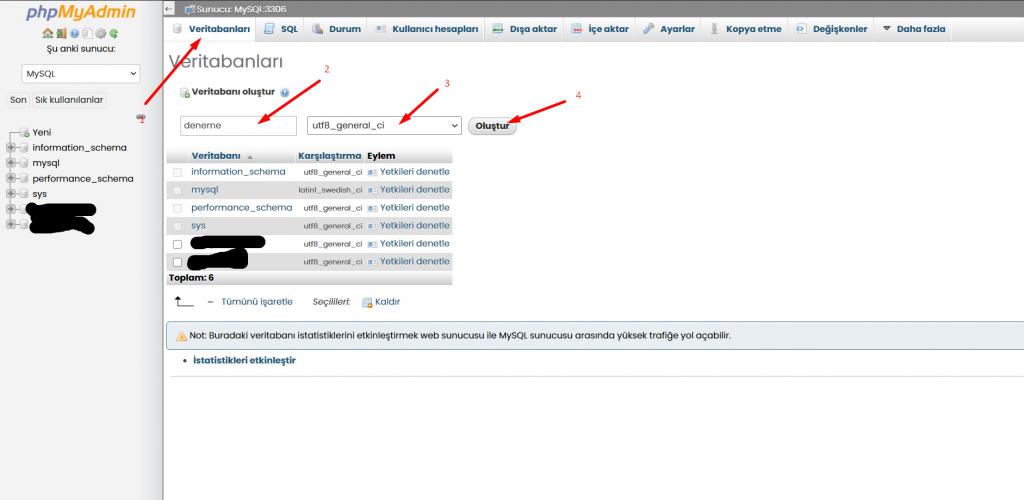 wordpress-veritabanı-oluşturma